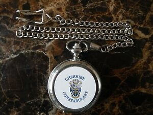 CHESHIRE POLICE CHROME POCKET WATCH WITH CHAIN (NEW)