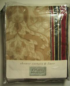 "KINGSWOOD Shower Curtain - Burgundy & Green / Light Brown 72""x72"" JC Penney New"