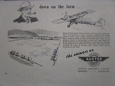 8/1947 PUB AUSTER STEEL AEROPLANE AIRCRAFT AVION TRAINER FARM FERME ORIGINAL AD