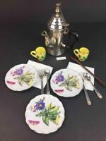 American Girl Felicity Chocolate Tea Pot Set~3 Plates~Pleasant Company Retired