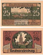 Germany 25 Pfennig 1921 Notgeld Neubrandenburg UNC Uncirculated Banknote