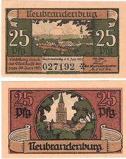 Germany 25 Pfennig 1921 Notgeld Neubrandenburg UNC Uncirculated Banknote