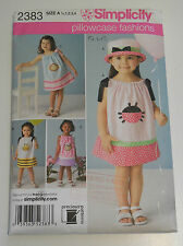 Simplicity 2383 child's dress pattern with appliques and hat pattern sizeA 0.5-4