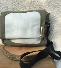 Delsey Travel Bag Khaki Green White Lightweight cross body over shoulder bag