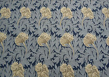 William Morris Curtain Fabric 'Tulip' 3 METRES (300cm) Indigo/Linen  Cotton