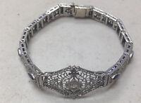 Filigree 14k White Gold Antique Bracelet Diamond Sapphires Art Deco 1920's Star
