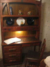WRITING DESK WITH CHAIR / BOOK CASE / TWO PIECE / DOVE TAIL JOINTS ON DRAWERS