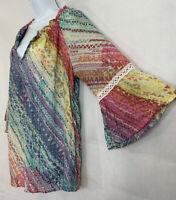 Spense Sz L Multicolor Graphic Peasant Top Shirt Blouse 3/4 Crochet Bell Sleeve