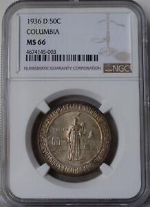 "1936-D Columbia Half Dollar ""NGC MS66"" *Free S/H After 1st Item*"