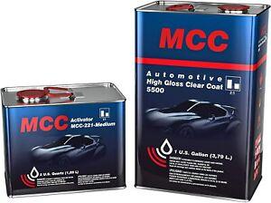MCC Automotive High Gloss Clear Coat Urethane 2K 2:1 Gallon Clearcoat Medium Kit