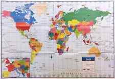"WORLD MAP Poster Size Wall Decoration Large Map of The World 40"" x 28"" D01"