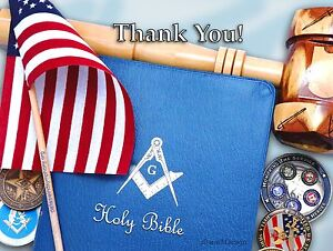 """12 GREETING/NOTE  MASONIC CARDS """"Bible & Gavel """" Choice of 4 Messages"""