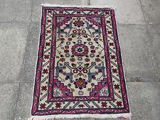 Old Hand Made Turkish Oriental Wool Cream Pink Small Rug Carpet 107x77cm