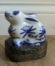 Vintage Delft Blue Bunny Trinket Jewelry Box Mirror