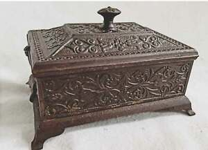 Antique Cast Iron Foot Medieval Renaissance Gothic Style Box Intricate Metalwork