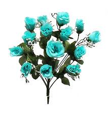 14 Long Stem Roses Buds Teal Aqua Silk Wedding Flowers Bouquet Centerpieces New!