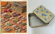 Vintage Rectangular Decorative Candy Tin Box Blue Flower Gold Leaf Yellow Beige