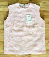 Vintage Harilela's Pink Hand Beaded Shell Top Lambs Wool NEW Sz Small FREE SHIP!