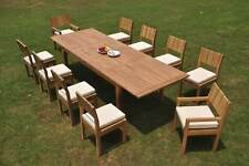 """11-Pc Outdoor Teak Dining Set: 122"""" Xl Rectangle Extension Table, 10 Chairs Vera"""