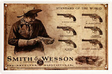 Smith & Wesson Colt Pistole Revolver Waffe Nostalgie 20 x 30 cm Blechschild 1041