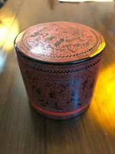 Antique Burmese betel box, circa 1940. Burma lacquerware