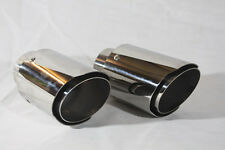 "Universal Stainless Steel Twin Exit 60mm Inlet Dual Tail Pipes 3.5"" Tips"
