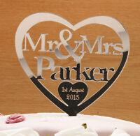 Acrylic Personalised Mr and Mrs Heart Cake Topper Wedding Keepsake Decoration