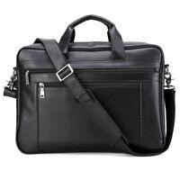 "Men Leather Briefcase 17"" Laptop Shoulder Bag Satchel Business Attache Handbag"