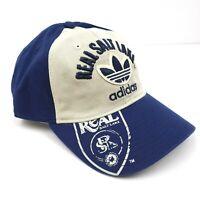 Adidas Mens MLS Real Salt Lake RSL Soccer Blue White Beige Adjustable Hat Cap