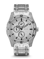 Bulova Men's Quartz Crystal Accents Silver-Tone Bracelet 43mm Watch 96C106