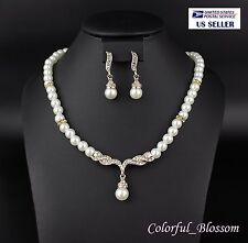 Pearl Clear Rhinestone Crystal Necklace Earrings Set Bridal Prom Gold N1