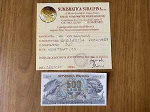 Repubblica Billet Livres 500 Arethusa 20 10 1967 Certifié Sup Subalpina