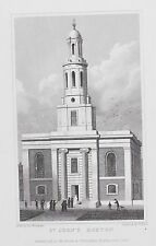 OLD ANTIQUE PRINT ST JOHNS CHURCH HOXTON LONDON c1827 ENGRAVING by SHEPHERD