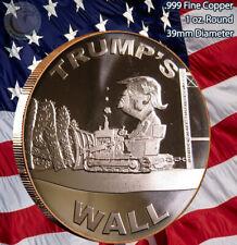 """""""Trump's Wall"""" 1 oz .999 Copper Round"""