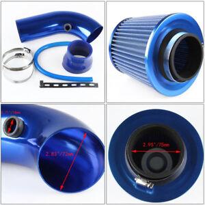 75mm Inlet Short Ram Cold Air Intake Filter Pipe Aluminum Cleaner Blue Set Kit