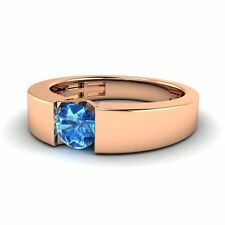 Solitaire 0.49 Ct Blue Topaz 10k Rose Gold Men's Engagement / Wedding Band Ring
