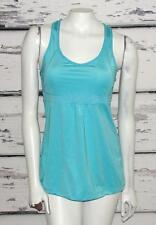 LUCY ACTIVEWEAR~TURQUOISE *MESH DRAWSTRING* LONG LENGTH~RACER-BACK YOGA TANK~S