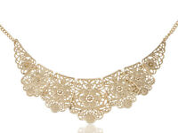 Hollow Pattern Pendant Gold Matte Floral Chunky Statement Bib Collar Necklace