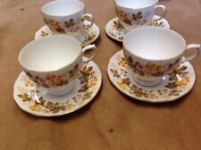 Royal Vale Bone  China 4 Tea Cups And Saucers Brown Leaf Design Good Condition