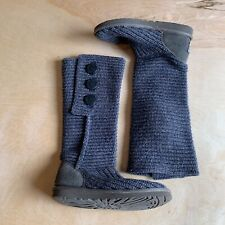 Ugg Womens Size 7 High Knit Moon Boots Light Blue Good Condition