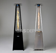 Glow Warm Black or Stainless Steel Edition 13kw Real Flame Pyramid Patio Heater