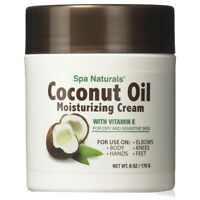Coconut Oil Moisturizing Cream Vitamin E/Dry Sensitive Skin/Spa Naturals/6 oz