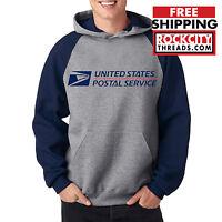 USPS POSTAL RAGLAN HOODIE Hooded Sweatshirt US Logo Chest United States Service