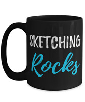 Sketching Rocks Coffee Mug Funny Gift Cup for Painter Artist