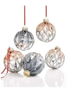 Holiday Lane Set Of 5 Glass Ball Ornaments 2.5""