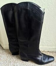 PETER FOX 8.5 WESTERN HEELS COWBOY COWGIRL BLACK LEATHER HIGH BOOTS SHOES W/ BOX