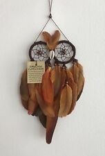 Owl Shape Dream Catcher Wall Hanging Brown/Burnt Orange with Brown Wood Beads