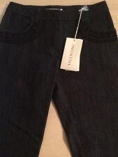 Valentino Women's Jeans Black Decorative Stitched Straight Leg Size 4 New! $385