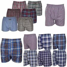 Pack of 6x 12x Mens Woven Cotton Boxer Shorts Check Loose Fit Underwear Trunks