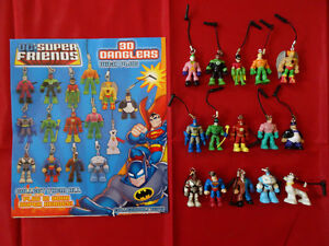 DC Super friends figures phone, charms, danglers superman batman collectables